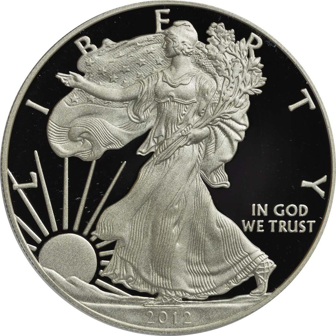 Vorderseite :USA : 1 Dollar Silber Eagle 1oz  2012 PP