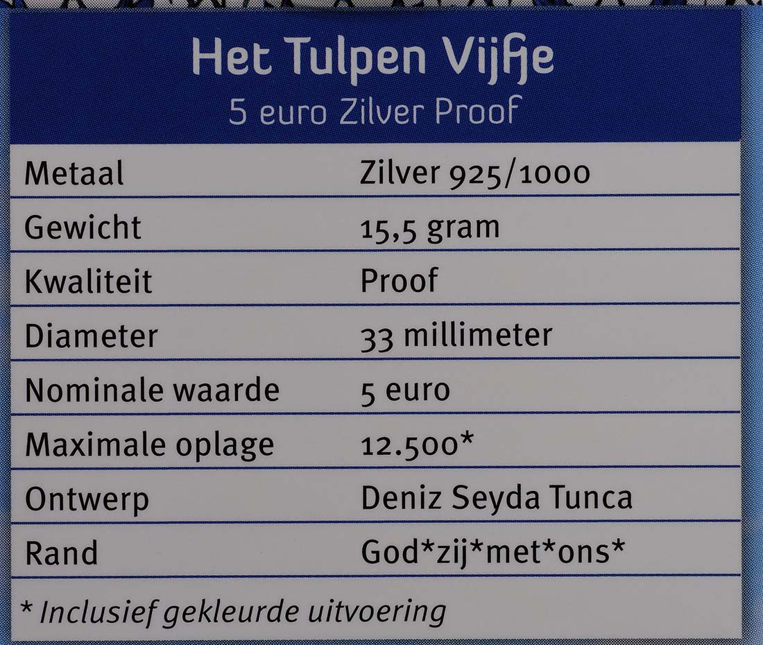 Zertifikat:Niederlande : 5 Euro Tulpe  2012 PP