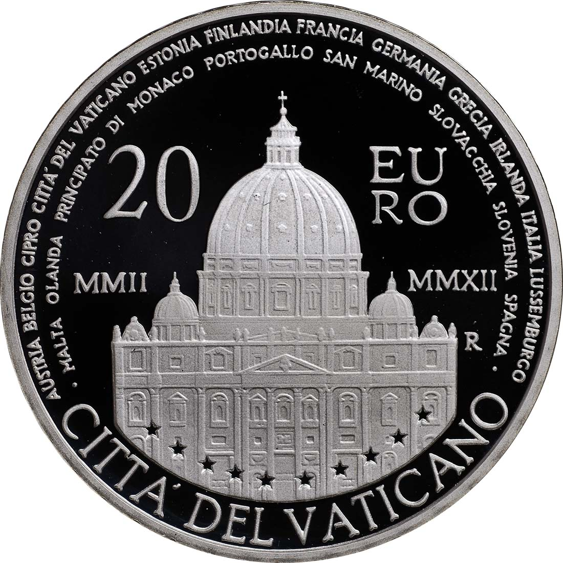 Rückseite:Vatikan : 23,88 Euro KMS Vatikan + 20 Euro Gedenkmünze  2012 PP