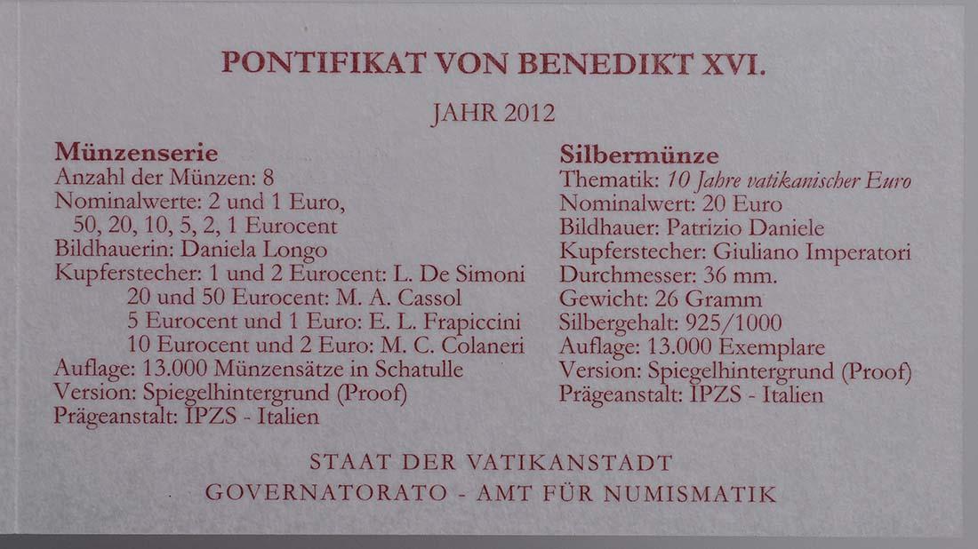 Zertifikat:Vatikan : 23,88 Euro KMS Vatikan + 20 Euro Gedenkmünze  2012 PP