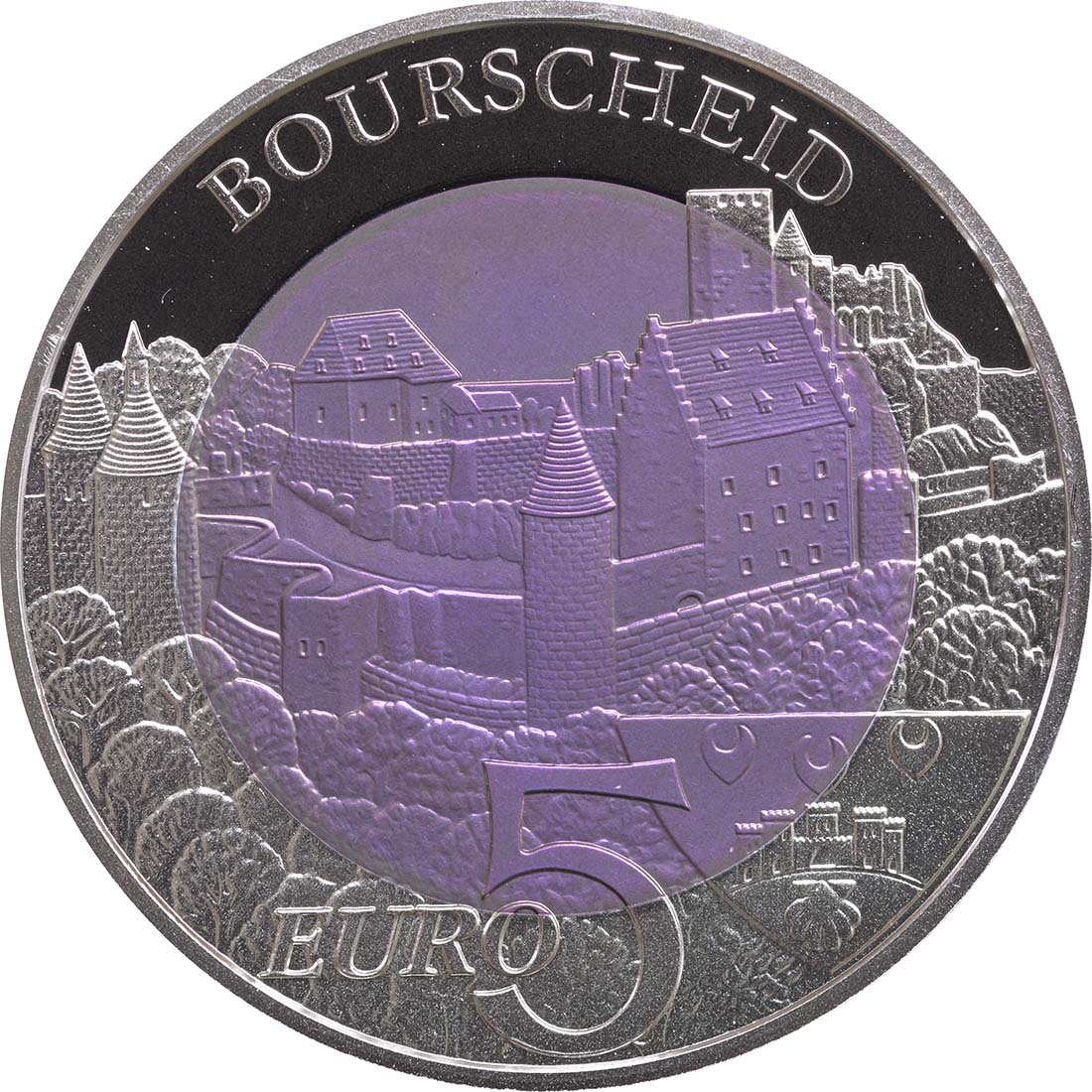 Vorderseite:Luxemburg : 5 Euro Burg Bourscheid  2012 PP NIOB