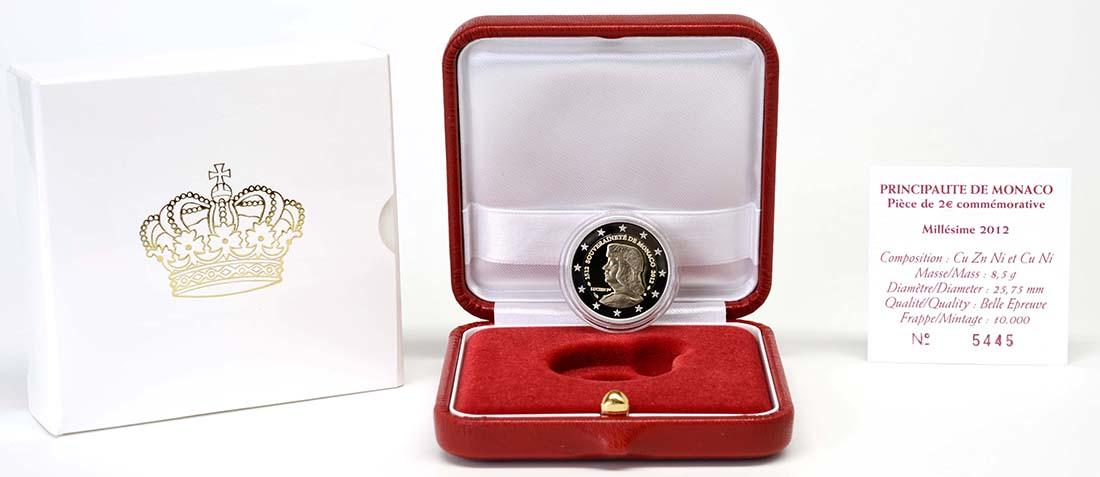 Lieferumfang :Monaco : 2 Euro 500 Jahre Souveränität Monacos  2012 PP