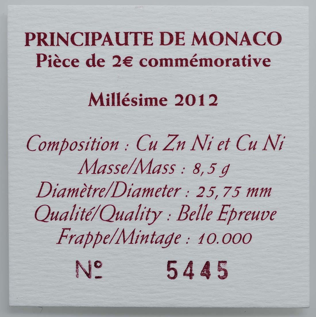 Zertifikat :Monaco : 2 Euro 500 Jahre Souveränität Monacos  2012 PP