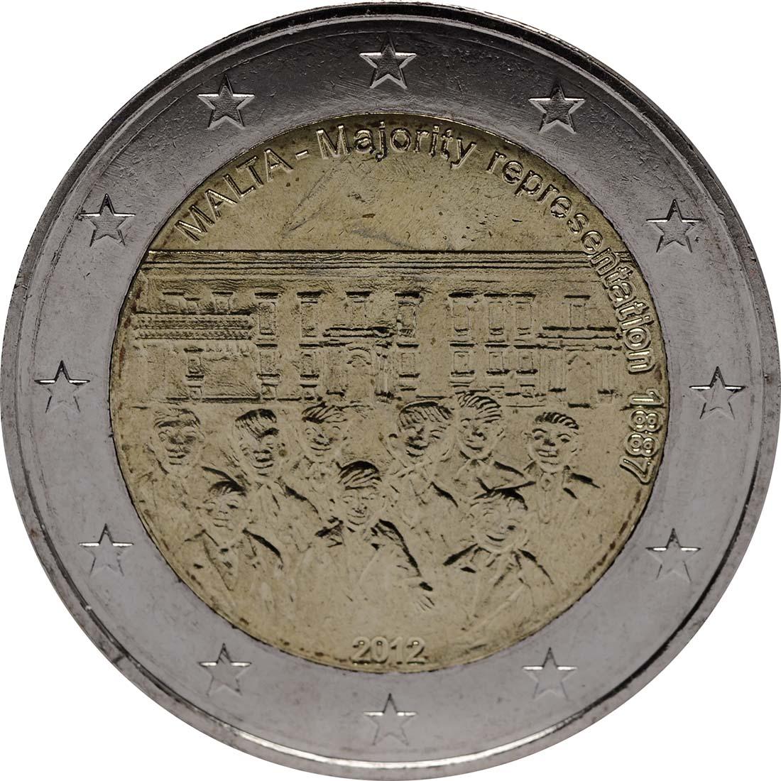 Rückseite:Malta : 2 Euro Mehrheitswahlrecht 1887  2012 bfr