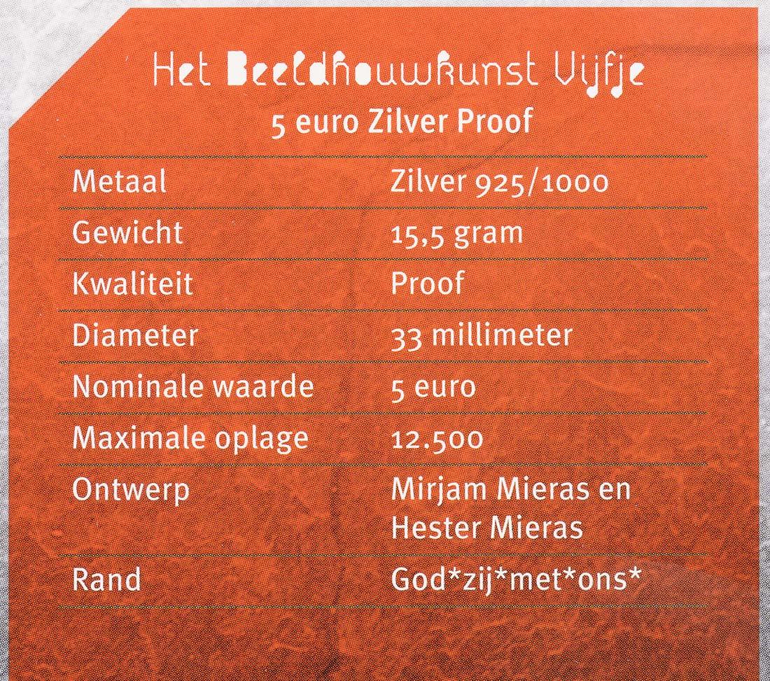 Zertifikat:Niederlande : 5 Euro Bildhauerkunst  2012 PP