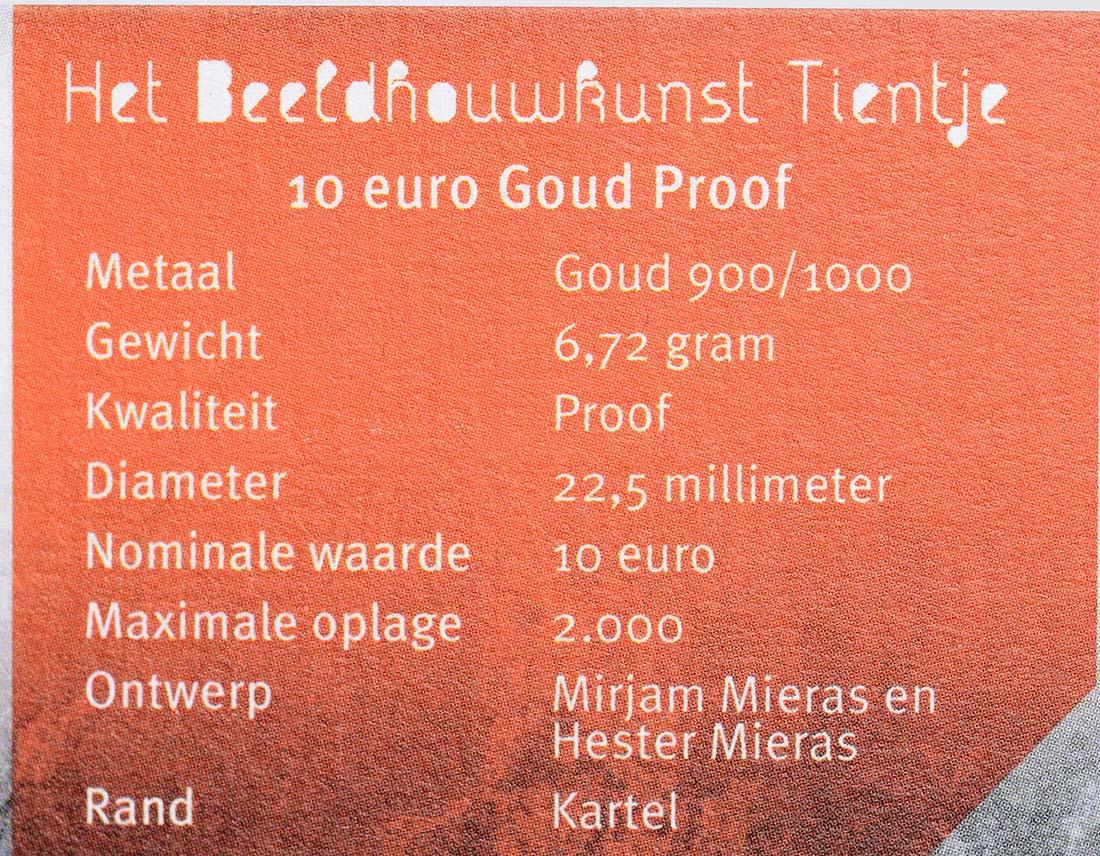 Zertifikat:Niederlande : 10 Euro Bildhauerkunst  2012 PP