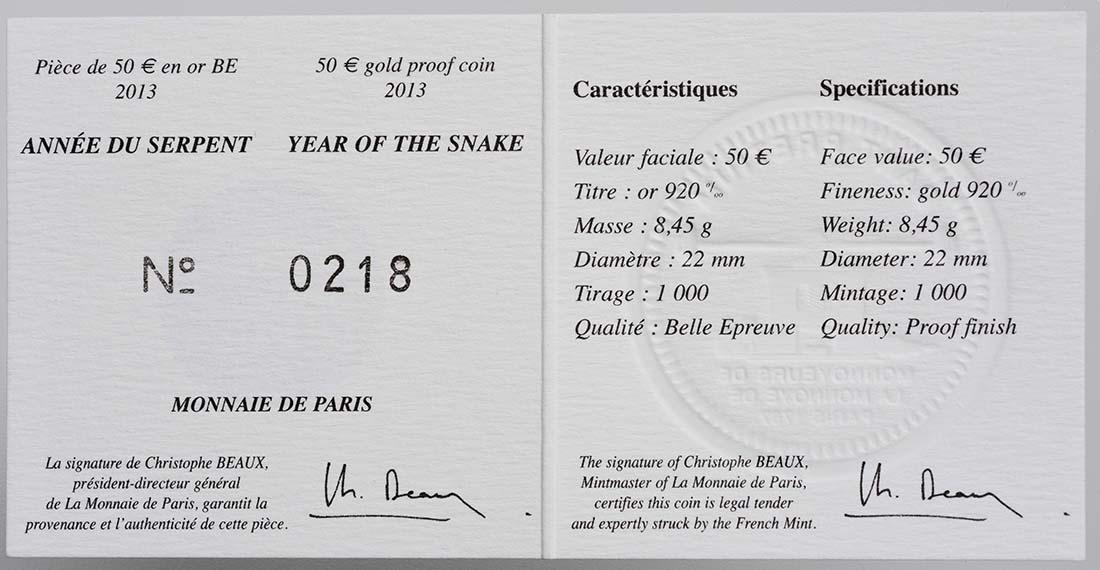 Zertifikat:Frankreich : 50 Euro Jahr der Schlange  2013 PP