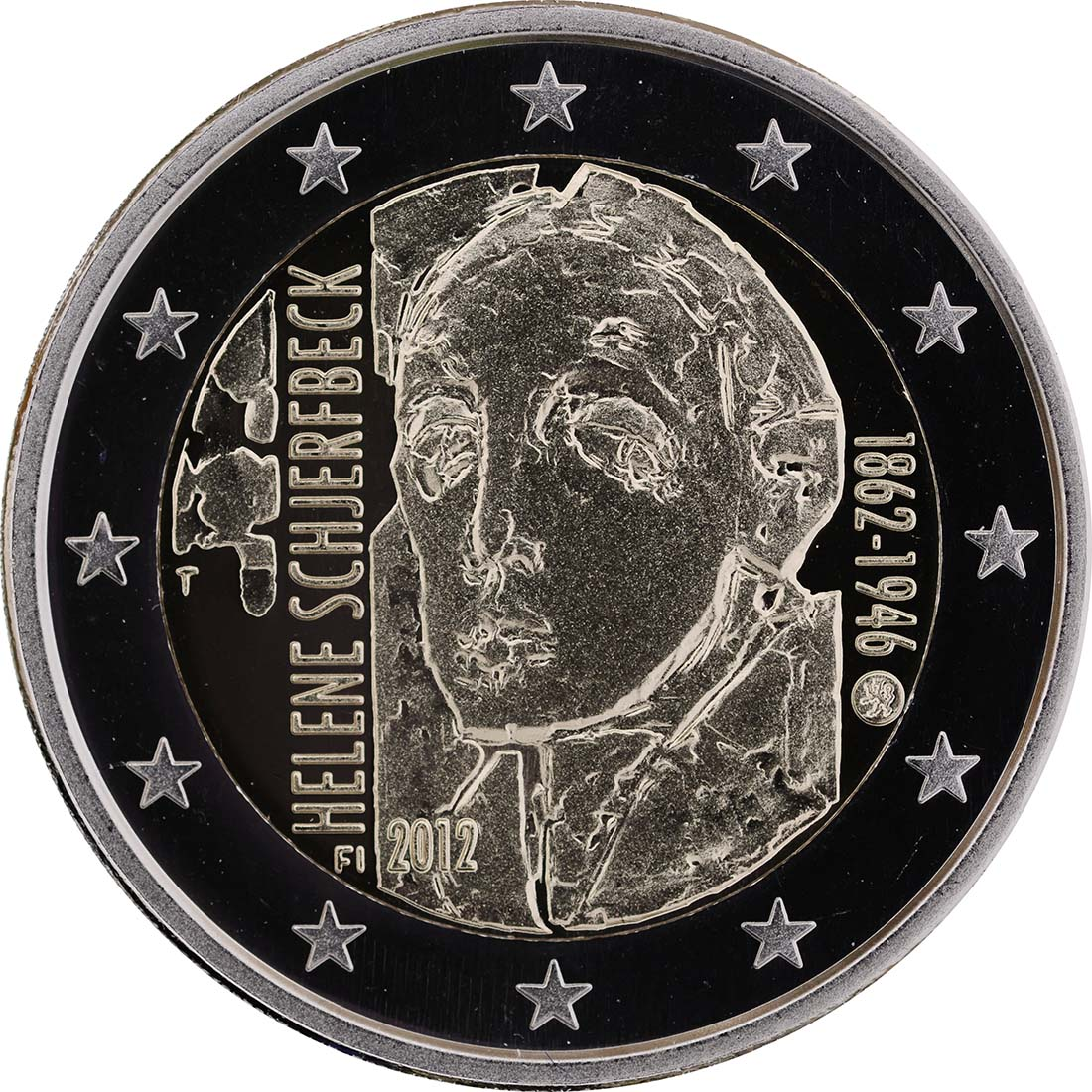 Rückseite:Finnland : 2 Euro Helene Schjerfbeck  2012 PP