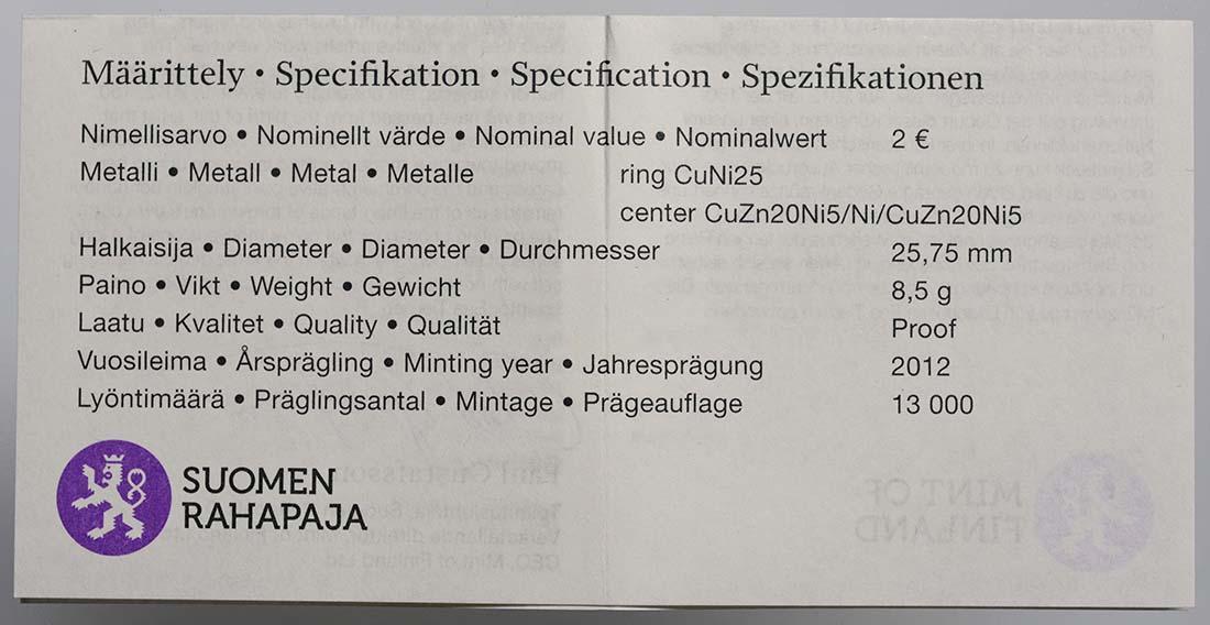 Zertifikat:Finnland : 2 Euro Helene Schjerfbeck  2012 PP