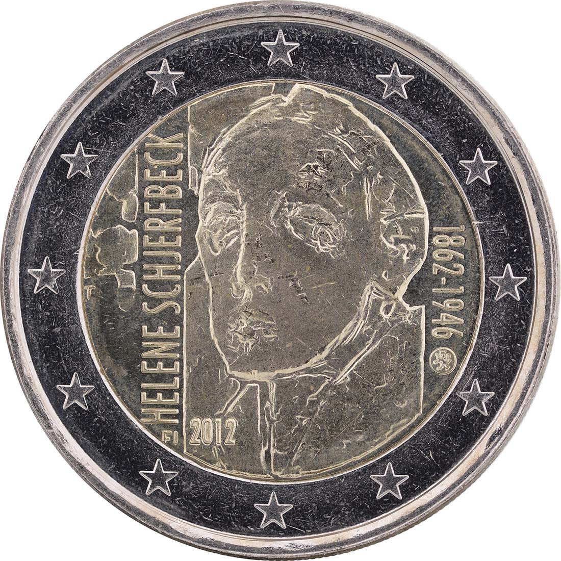 Rückseite:Finnland : 2 Euro Helene Schjerfbeck  2012 bfr