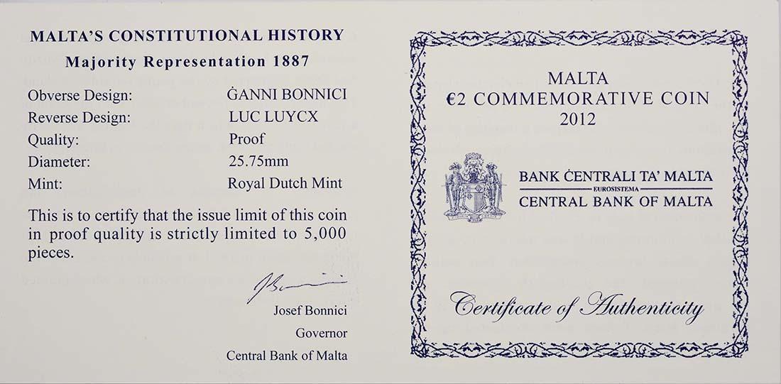 Zertifikat :Malta : 2 Euro Mehrheitswahlrecht 1887  2012 PP