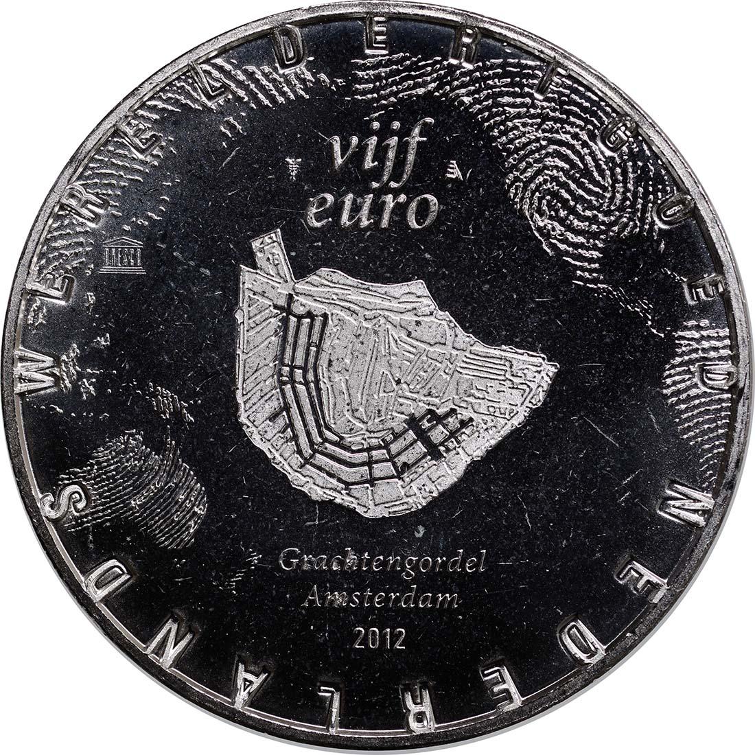 Rückseite:Niederlande : 5 Euro Amsterdamer Grachtengürtel  2012 vz/Stgl.