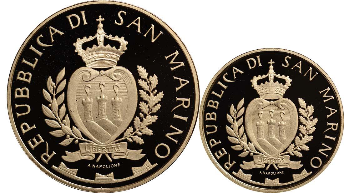 Rückseite:San Marino : 70 Euro Set aus 20+50 Euro Architektonische Elemente San Marinos  2012 PP