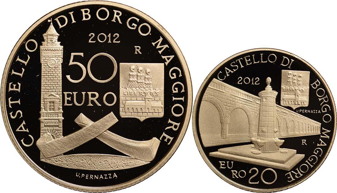 Vorderseite:San Marino : 70 Euro Set aus 20+50 Euro Architektonische Elemente San Marinos  2012 PP