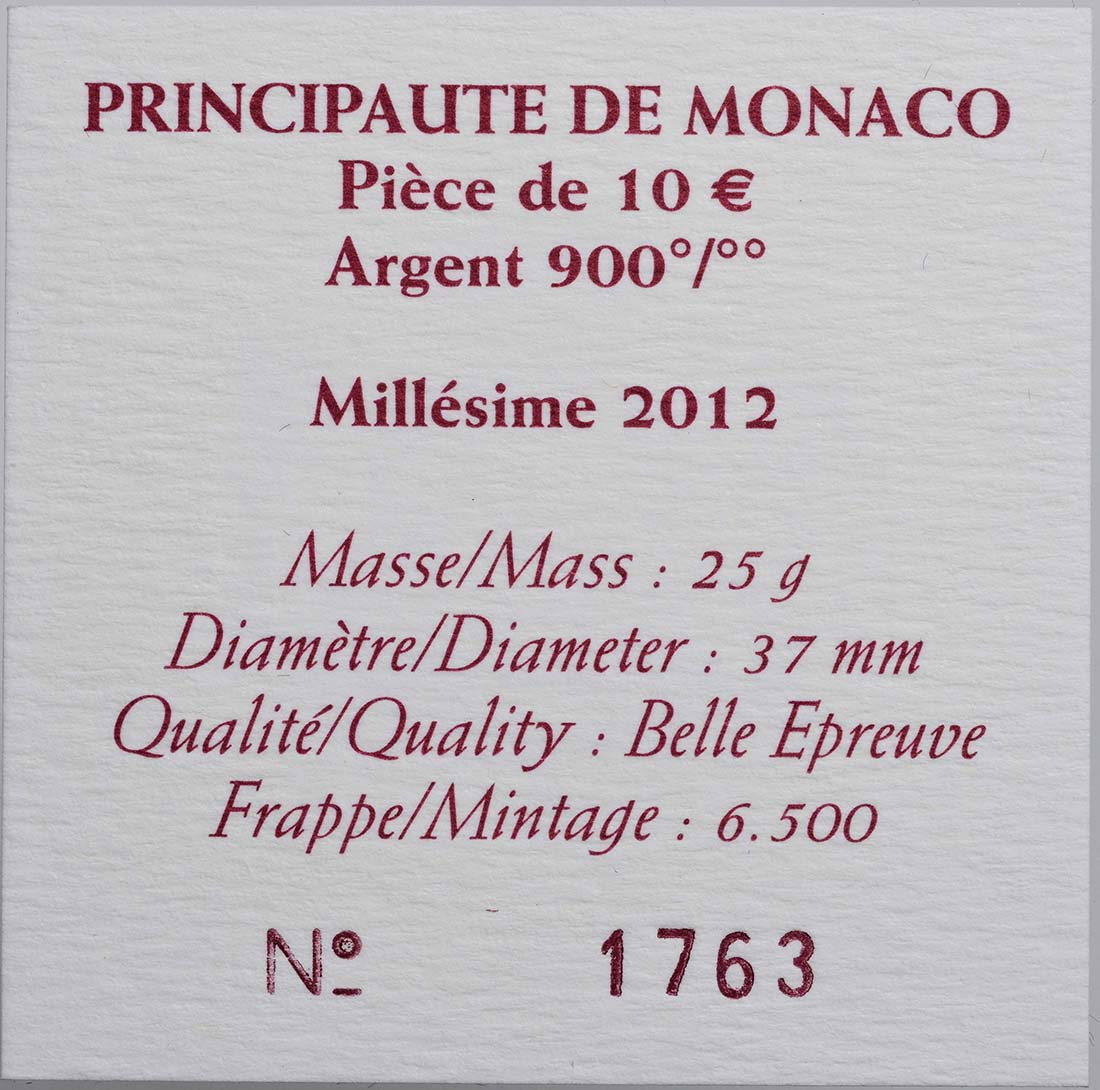 Zertifikat:Monaco : 10 Euro Honoré II.  2012 PP