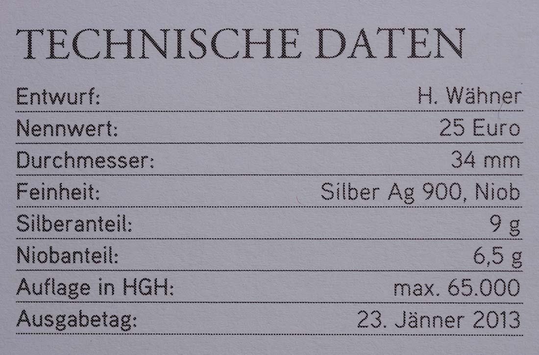 Zertifikat:Österreich : 25 Euro Tunnelbau  2013 Stgl.