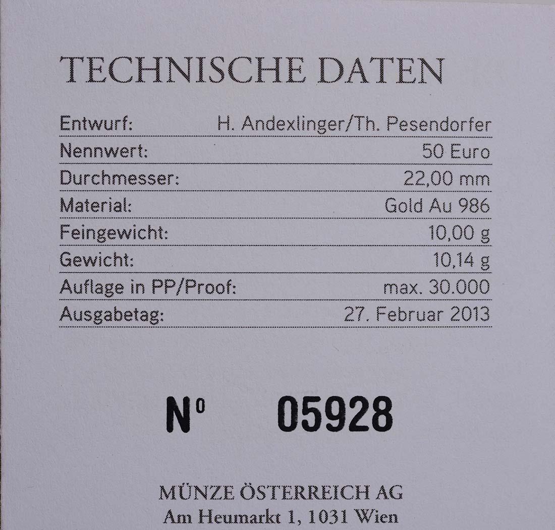 Zertifikat:Österreich : 50 Euro Klimt - Die Erwartung  2013 PP