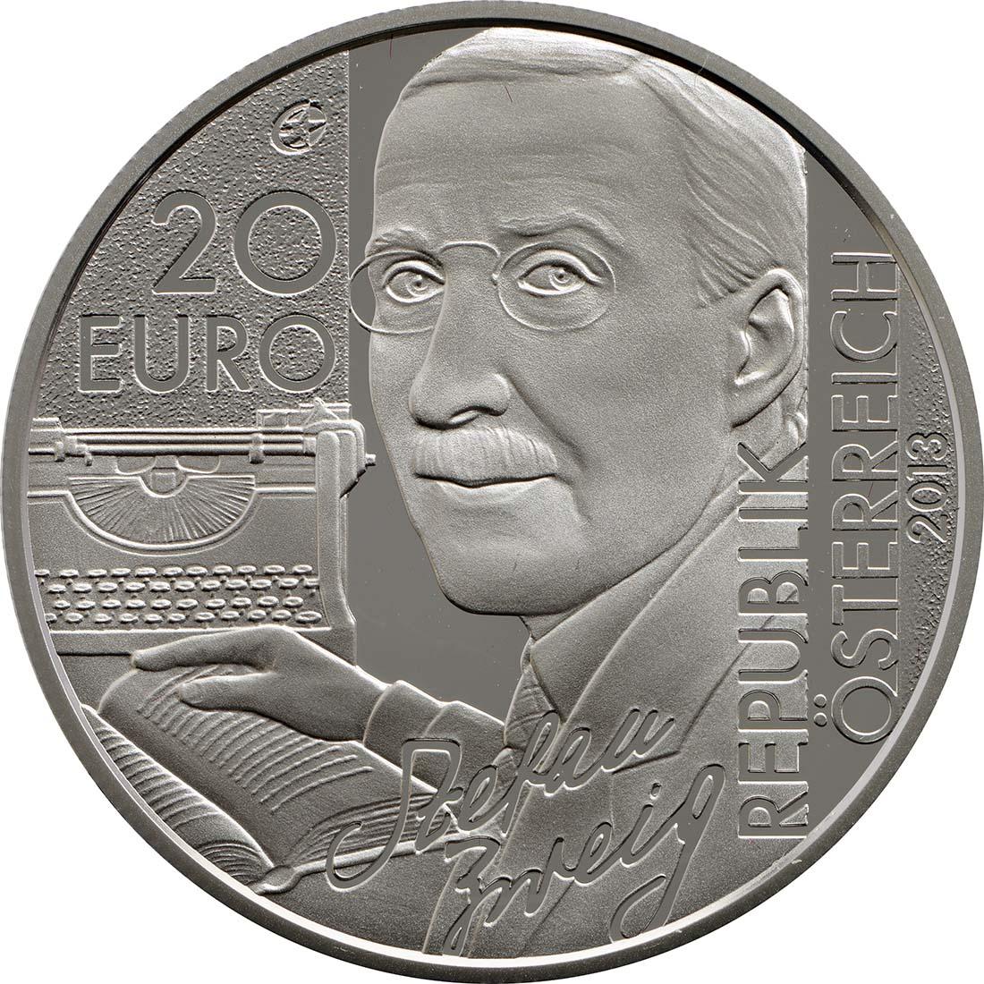 Vorderseite:Österreich : 20 Euro Stefan Zweig  2013 PP