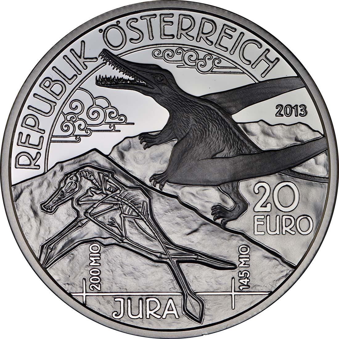 Rückseite:Österreich : 20 Euro Jura Leben in der Luft  2013 PP