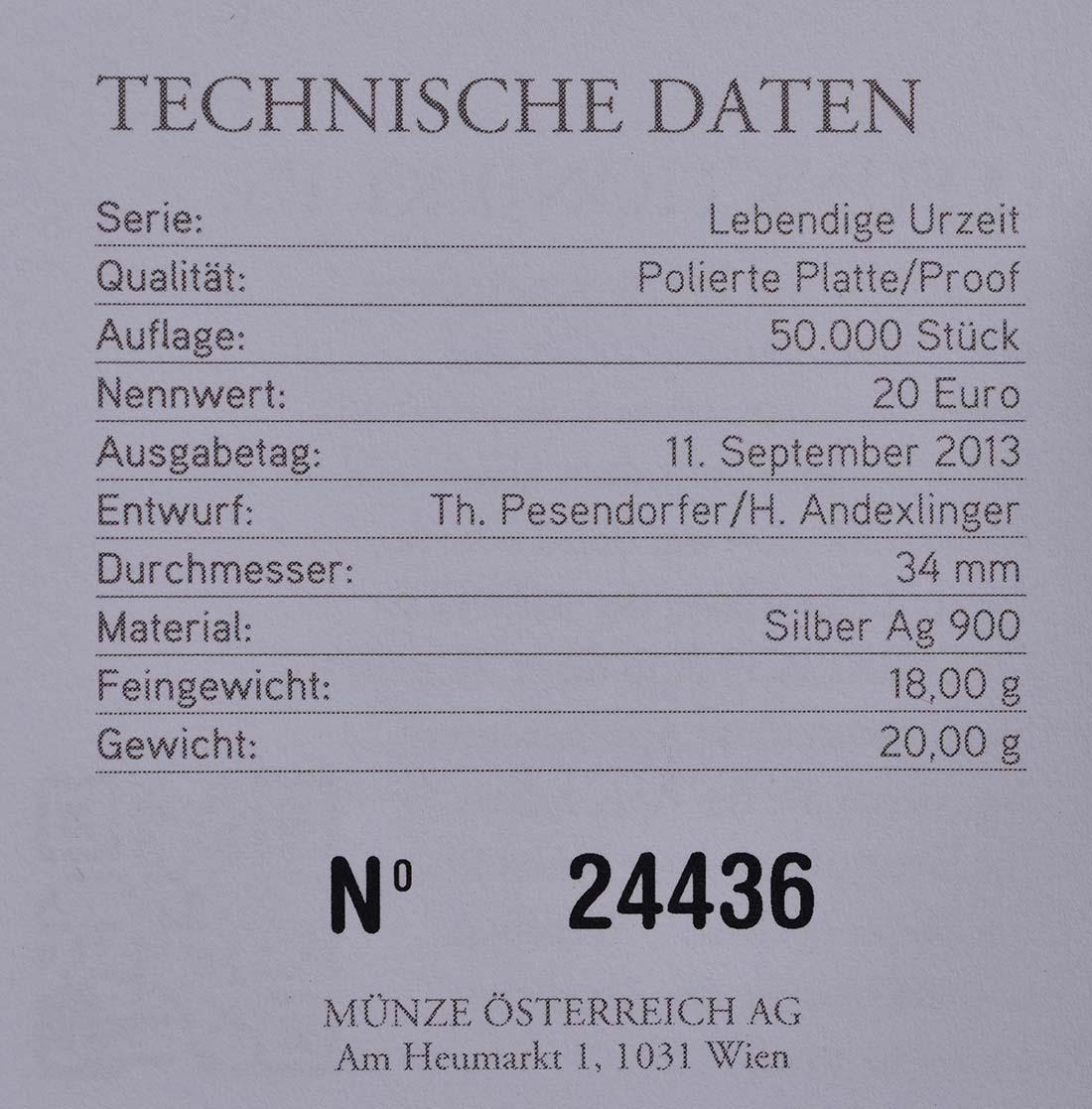 Zertifikat:Österreich : 20 Euro Jura Leben in der Luft  2013 PP