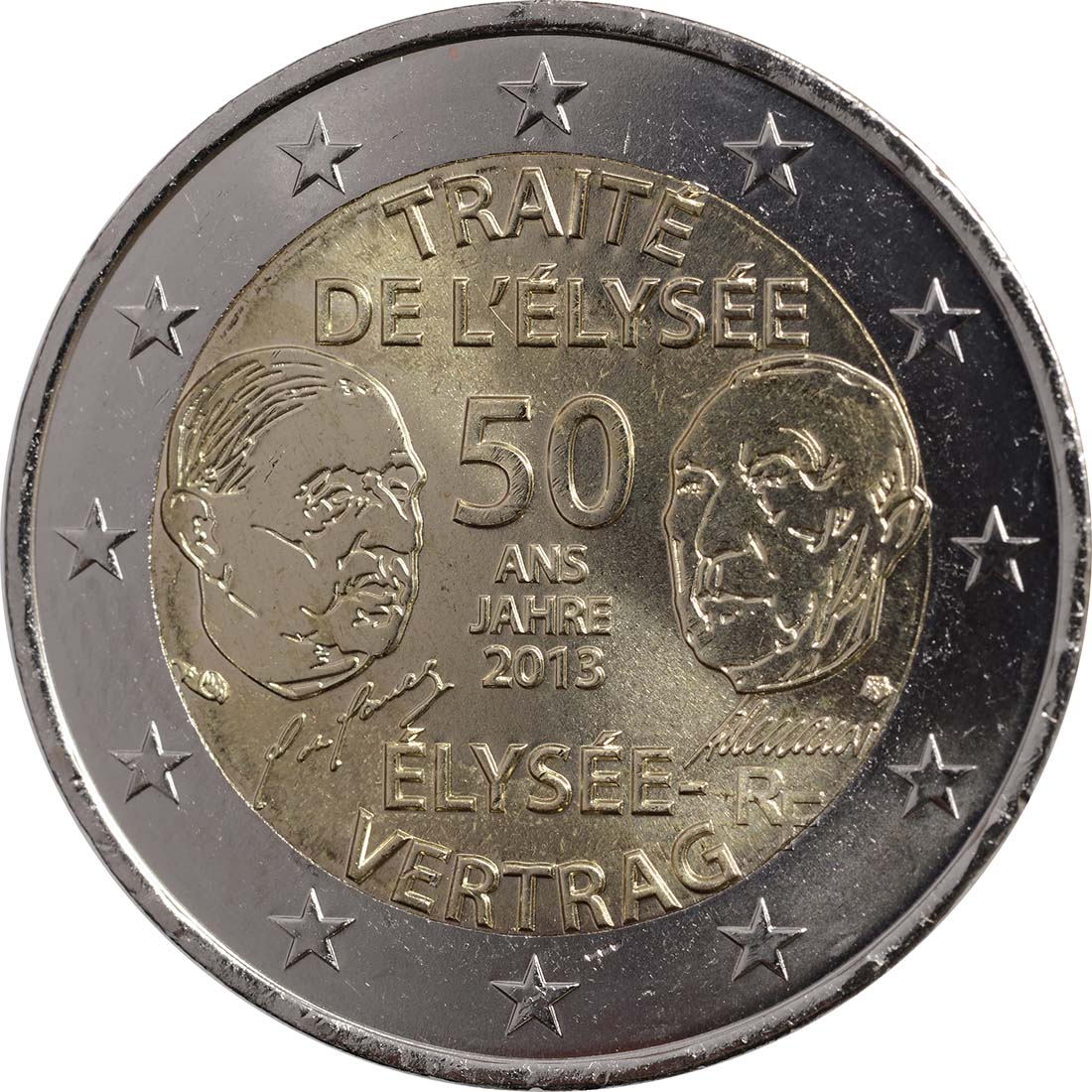 Rückseite :Frankreich : 2 Euro 50 Jahre Elysée-Vertrag  2013 bfr