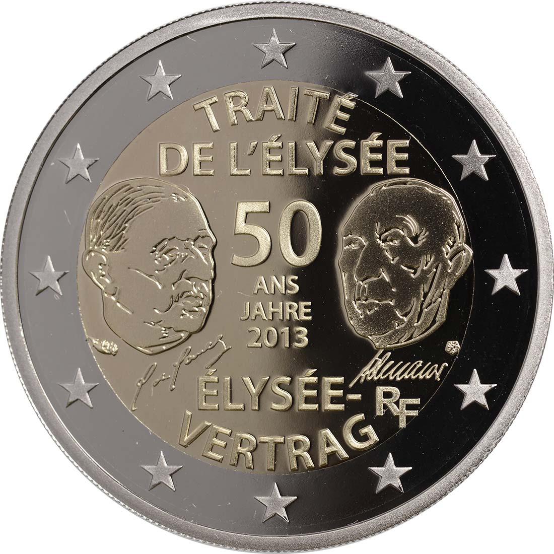 Rückseite:Frankreich : 2 Euro 50 Jahre Elysée-Vertrag  2013 PP