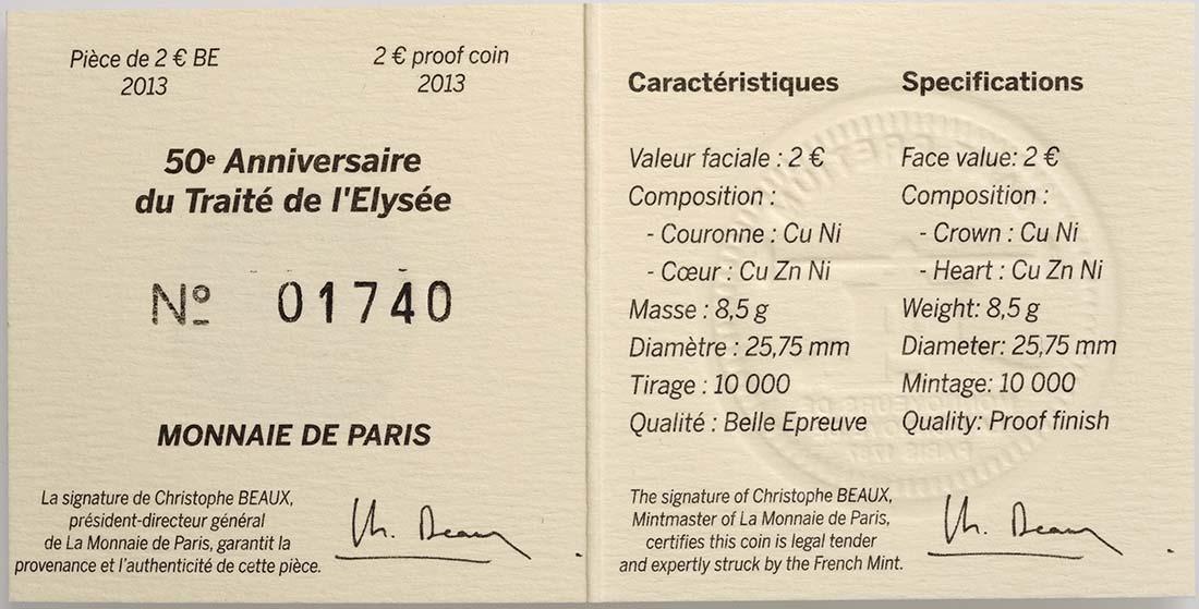 Zertifikat:Frankreich : 2 Euro 50 Jahre Elysée-Vertrag  2013 PP