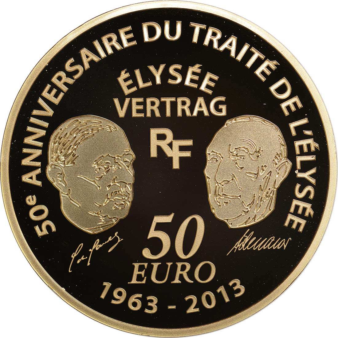 Rückseite:Frankreich : 50 Euro 50 Jahre Elysée-Vertrag  2013 PP