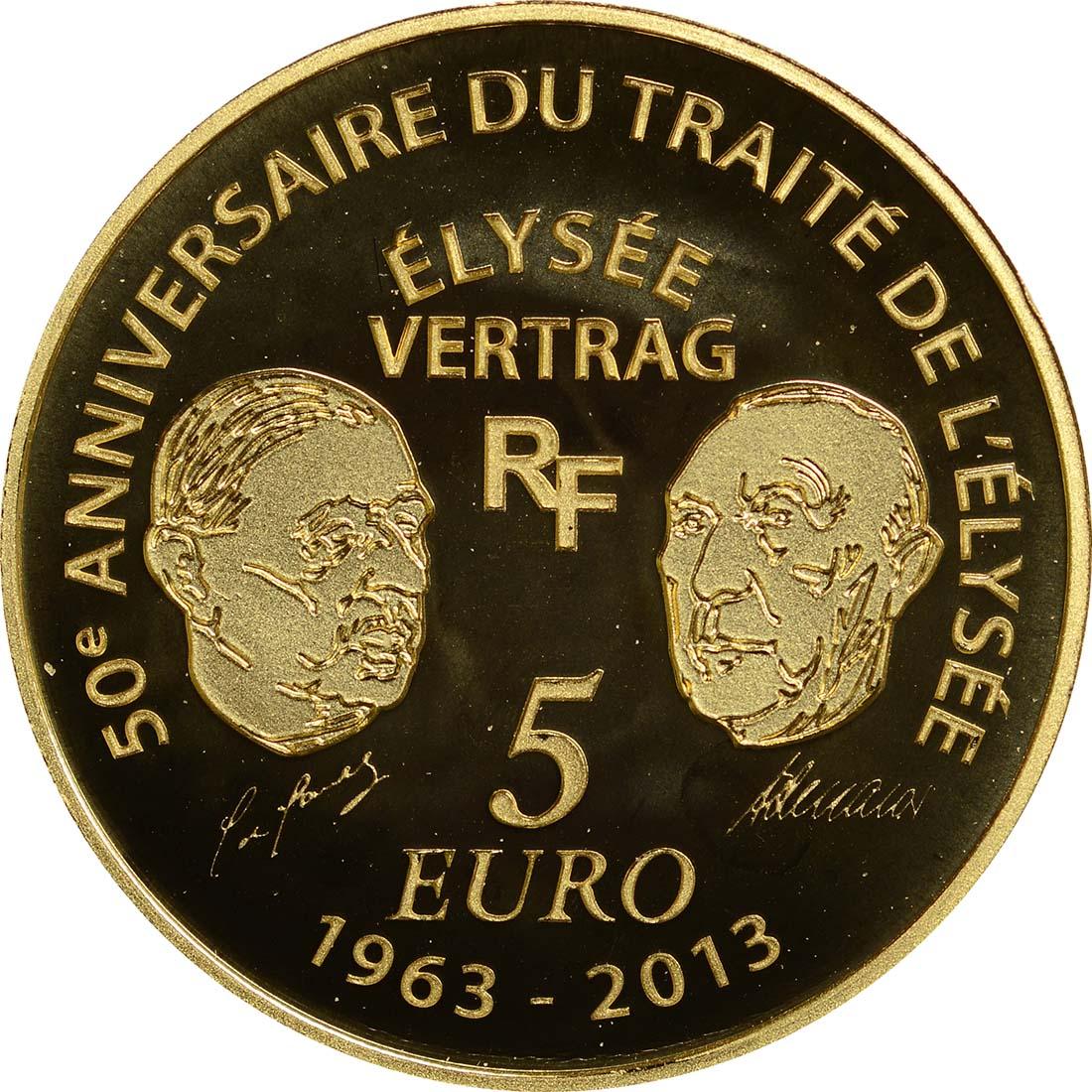 Rückseite:Frankreich : 5 Euro 50 Jahre Elysée-Vertrag  2013 PP