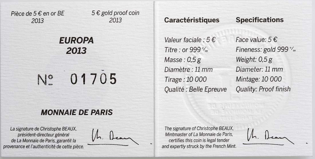 Zertifikat:Frankreich : 5 Euro 50 Jahre Elysée-Vertrag  2013 PP