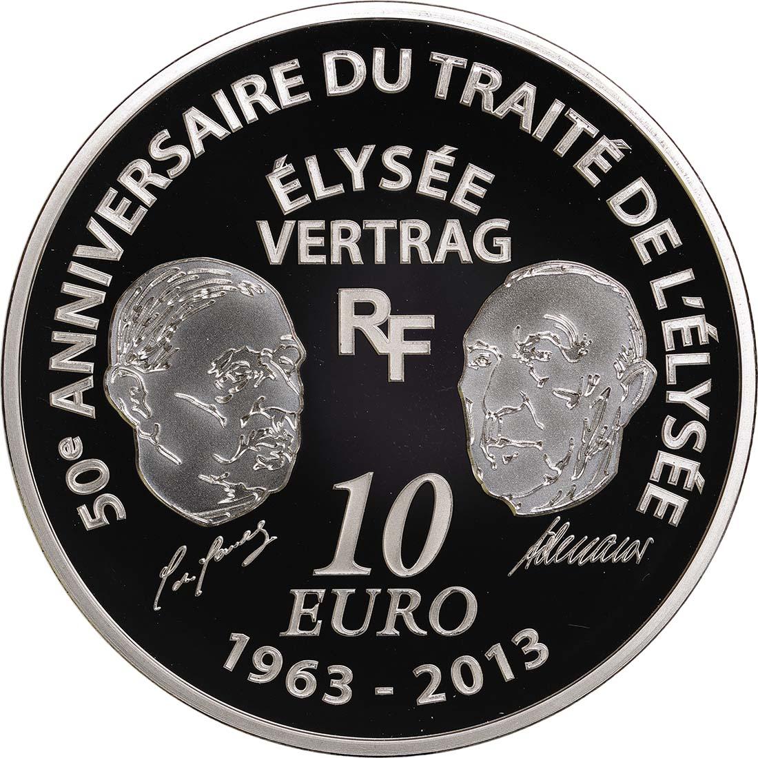 Rückseite:Frankreich : 10 Euro 50 Jahre Elysée-Vertrag  2013 PP