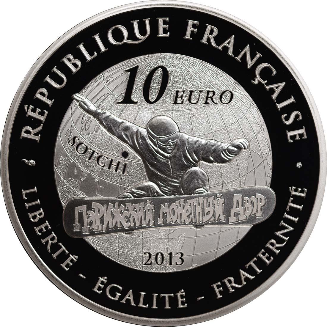 Rückseite:Frankreich : 10 Euro Snowboard  2013 PP