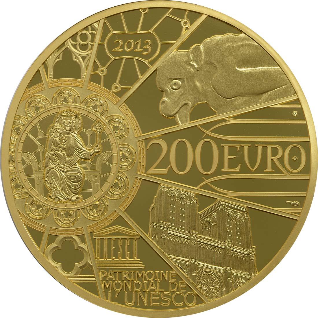 Rückseite:Frankreich : 200 Euro Notre Dame  2013 PP