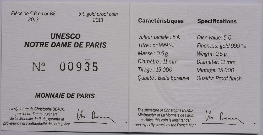 Zertifikat:Frankreich : 5 Euro Notre Dame  2013 PP