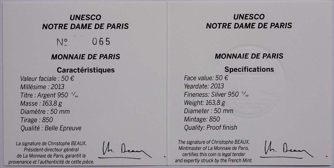 Zertifikat:Frankreich : 50 Euro Notre Dame - farbig  2013 PP