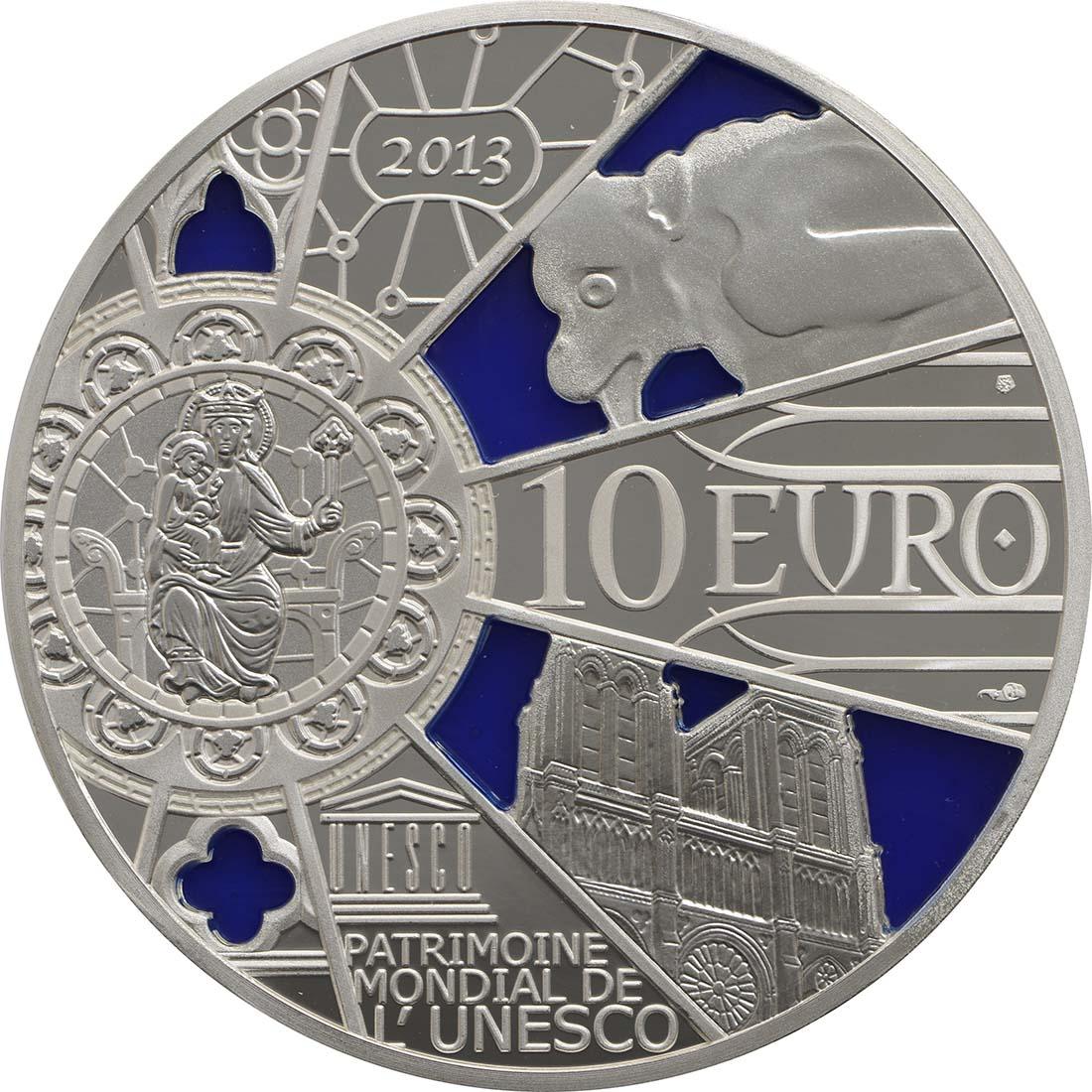 Rückseite:Frankreich : 10 Euro Notre Dame - farbig  2013 PP