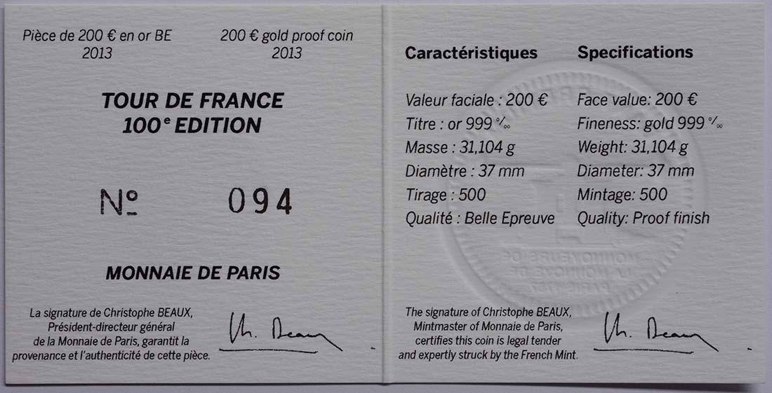 Zertifikat:Frankreich : 200 Euro Tour de France  2013 PP