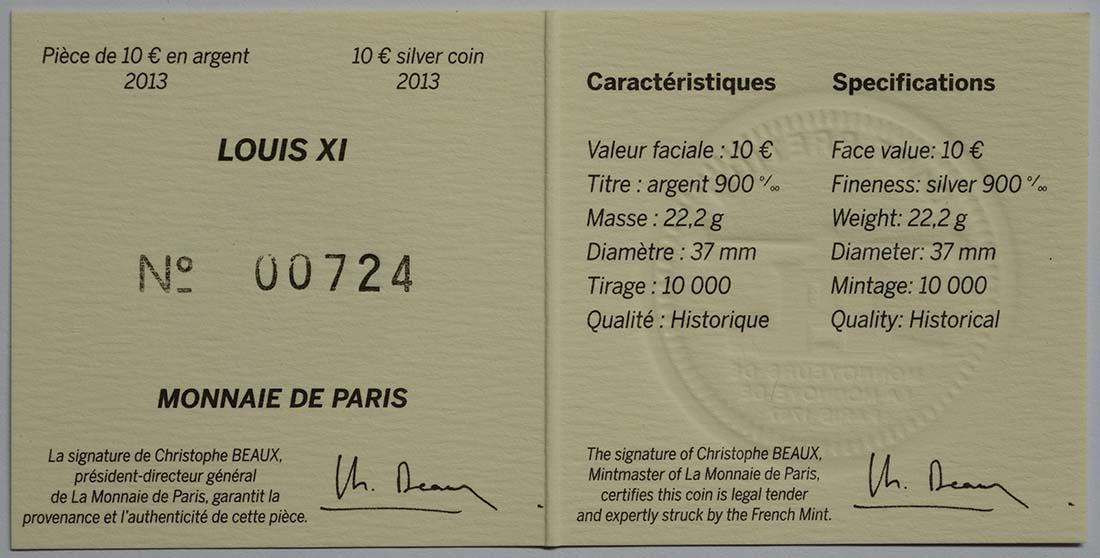 Zertifikat:Frankreich : 10 Euro Louis XI.  2013 vz/Stgl.