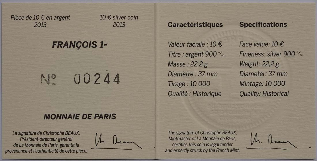 Zertifikat:Frankreich : 10 Euro Francois I.  2013 Stgl.