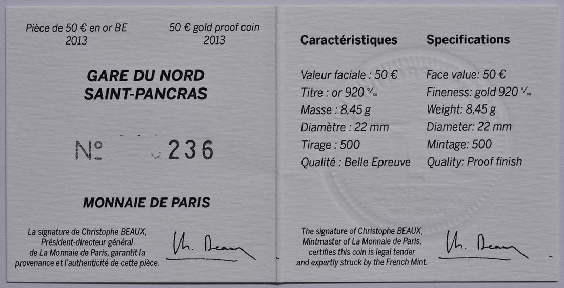 Zertifikat:Frankreich : 50 Euro Kanaltunnel  2013 PP