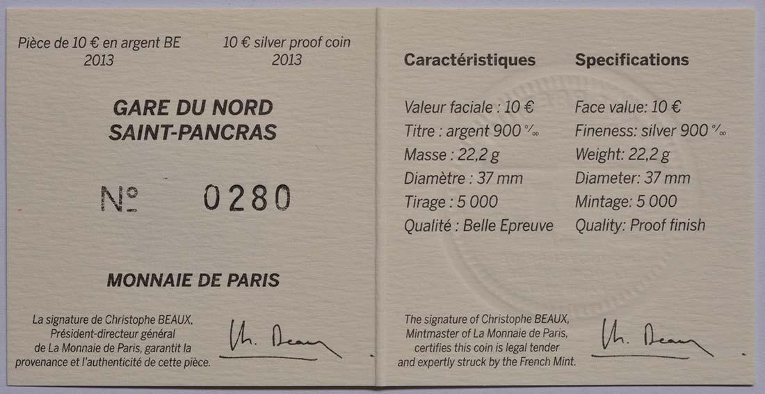Zertifikat:Frankreich : 10 Euro Kanaltunnel  2013 PP