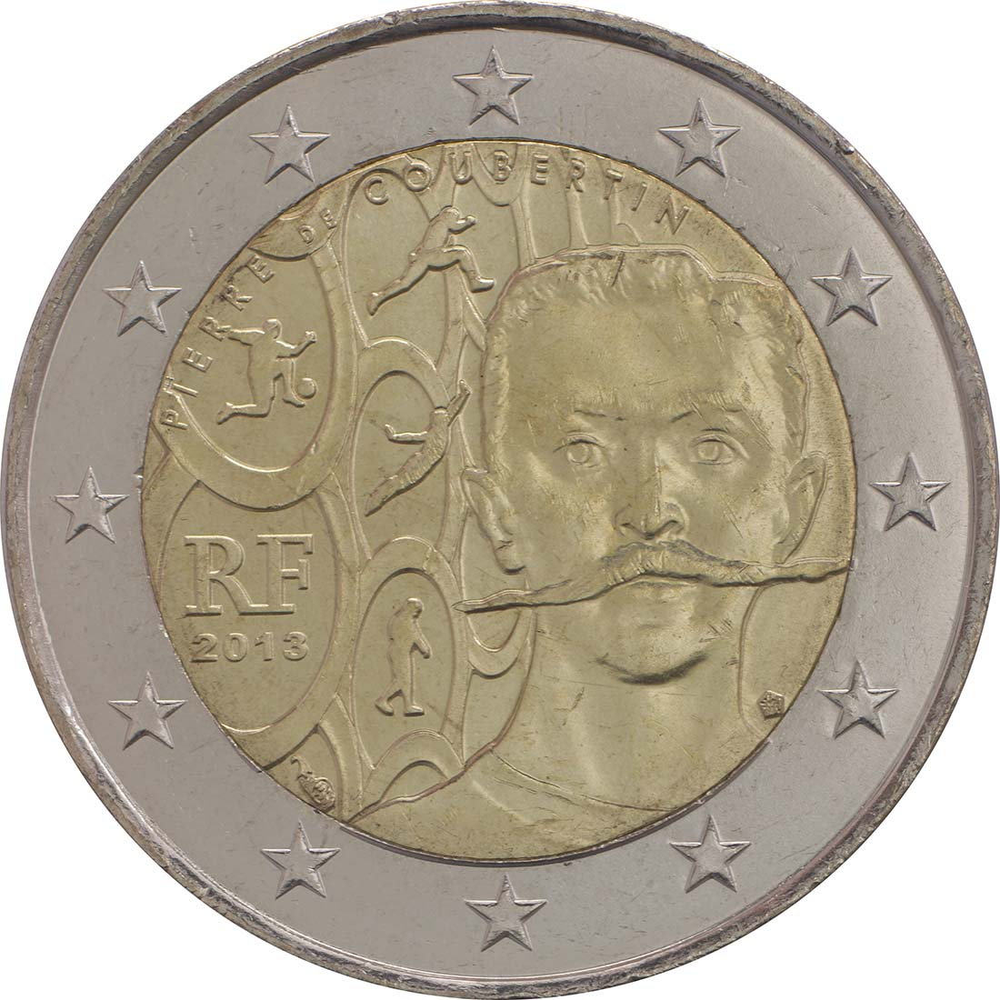 Rückseite :Frankreich : 2 Euro Pierre de Coubertin  2013 bfr