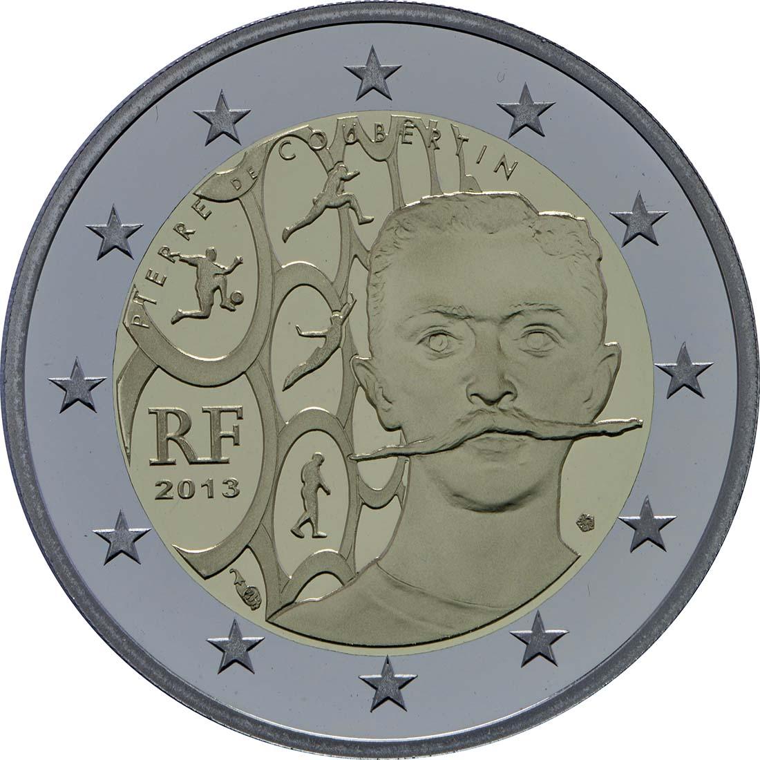 Rückseite :Frankreich : 2 Euro Pierre de Coubertin  2013 PP