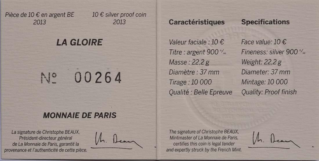 Zertifikat:Frankreich : 10 Euro La Gloire  2013 PP