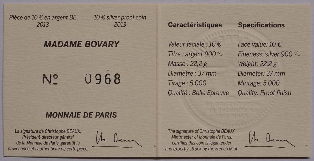 Zertifikat:Frankreich : 10 Euro Madame Bovary - EUROPASTERN  2013 PP