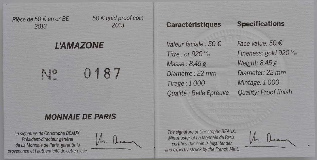 Zertifikat:Frankreich : 50 Euro L'Amazone  2013 PP