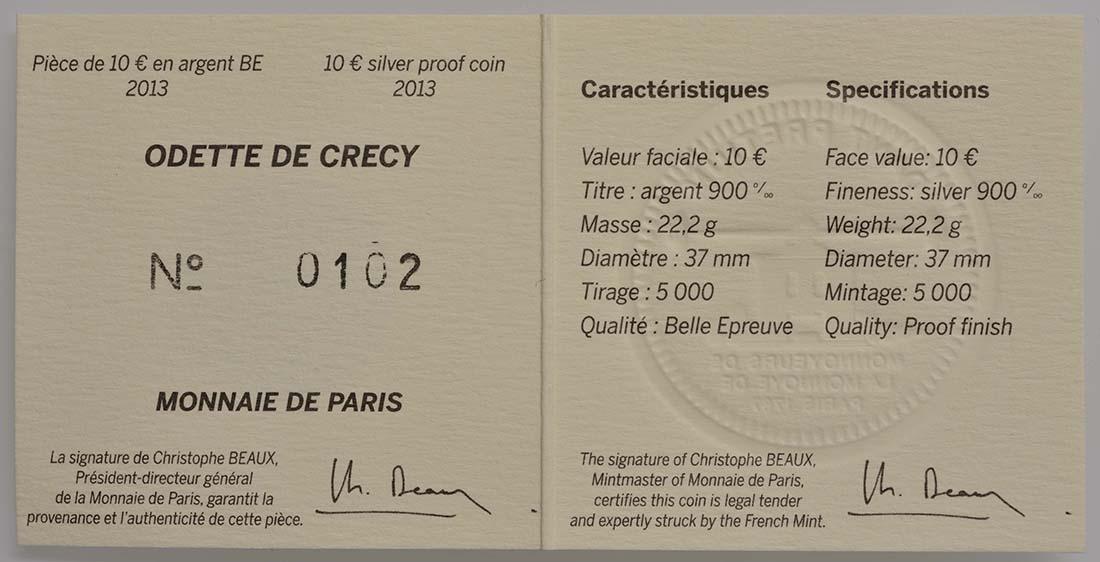 Zertifikat:Frankreich : 10 Euro Odette de Crécy  2013 PP