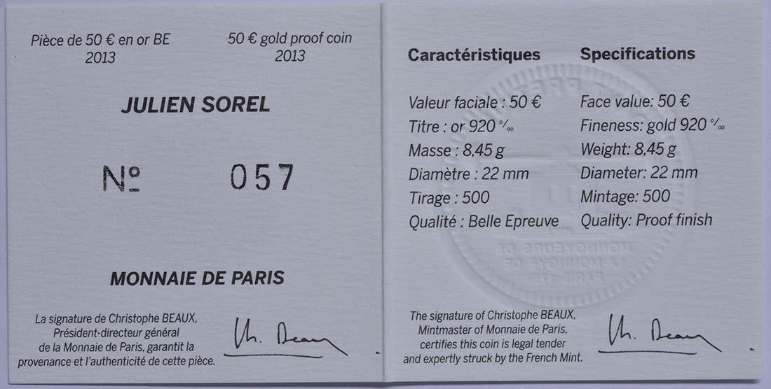 Zertifikat:Frankreich : 50 Euro Julien Sorel  2013 PP