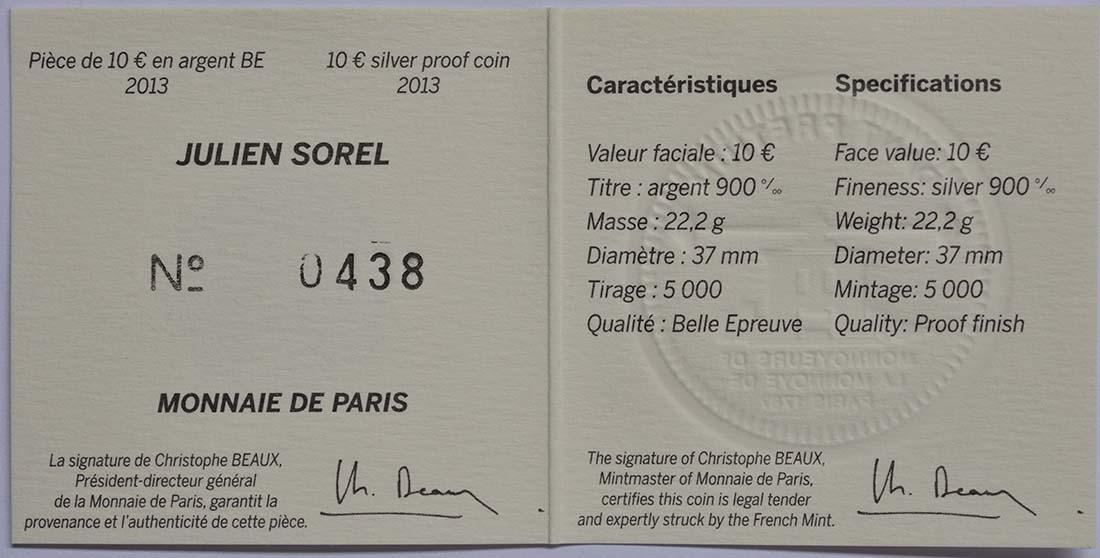 Zertifikat:Frankreich : 10 Euro Julien Sorel  2013 PP