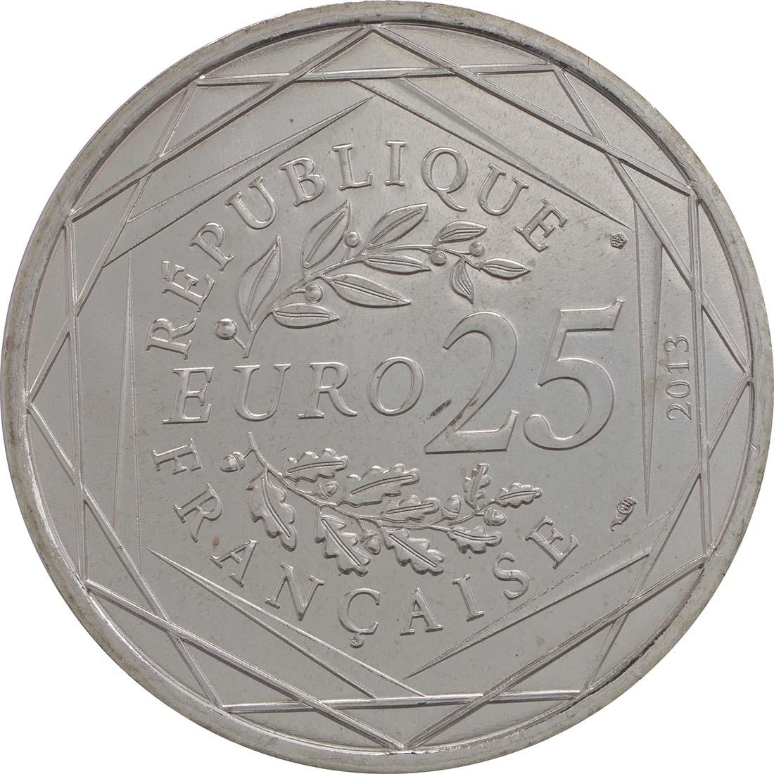 Rückseite:Frankreich : 25 Euro Respekt  2013 Stgl.